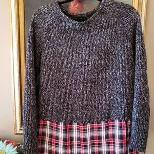 MSRP $64 SANCTUARY Sweater with plaid M